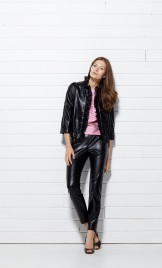 PERFORATED FAUX LEATHER AND SILK ORGANZA JACKET