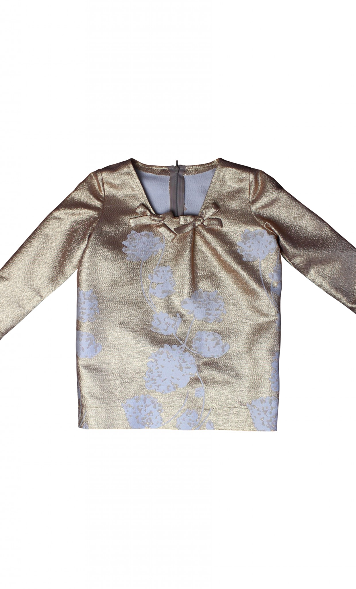 Plakinger: GIRLS FLOWER-PATTERNED SILK JACQUARD BLOUSE - Hiphunters Shop