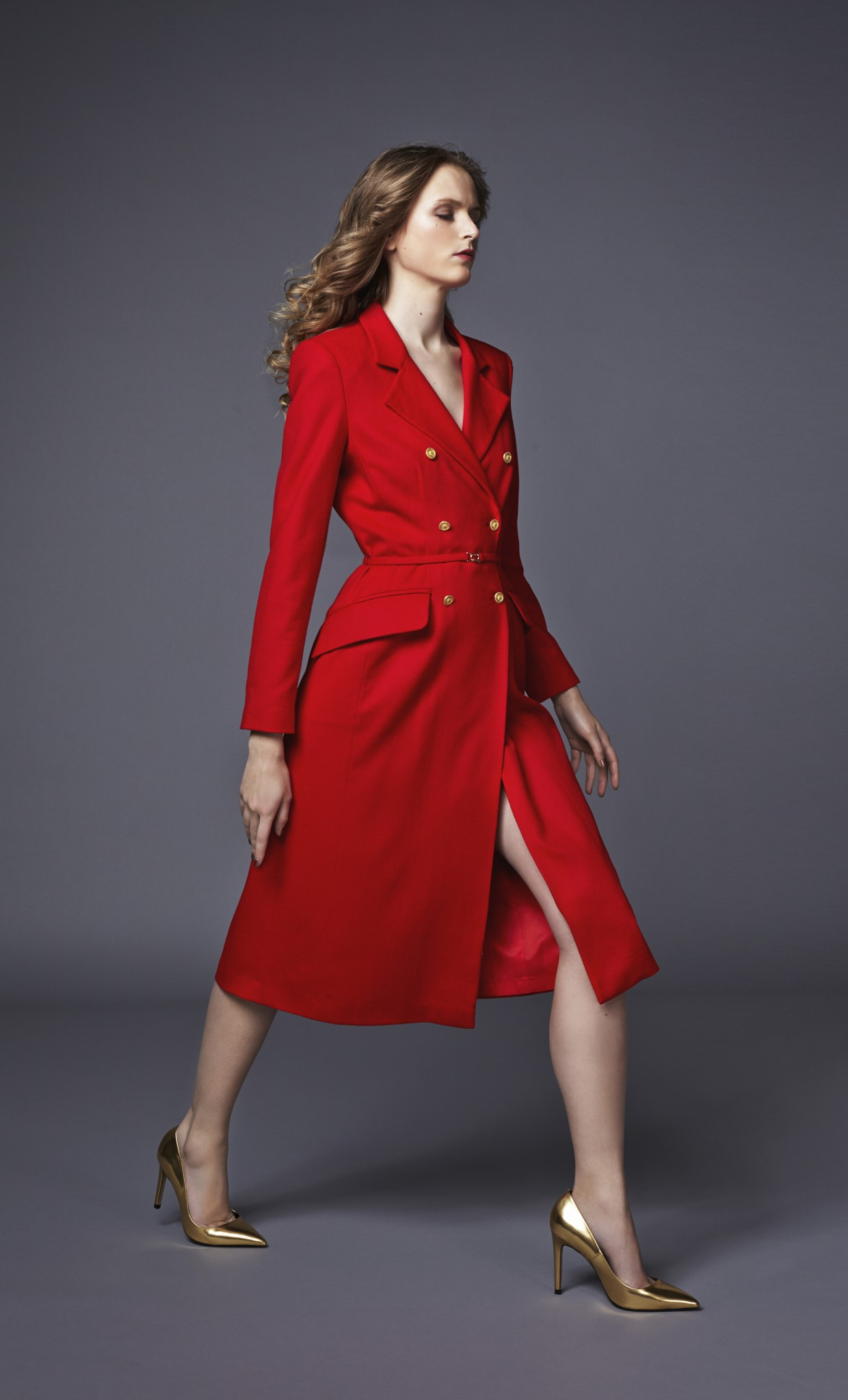 Plakinger: DOUBLE-BREASTED WOOL COAT WITH GOLDEN BUTTONS  - Hiphunters Shop