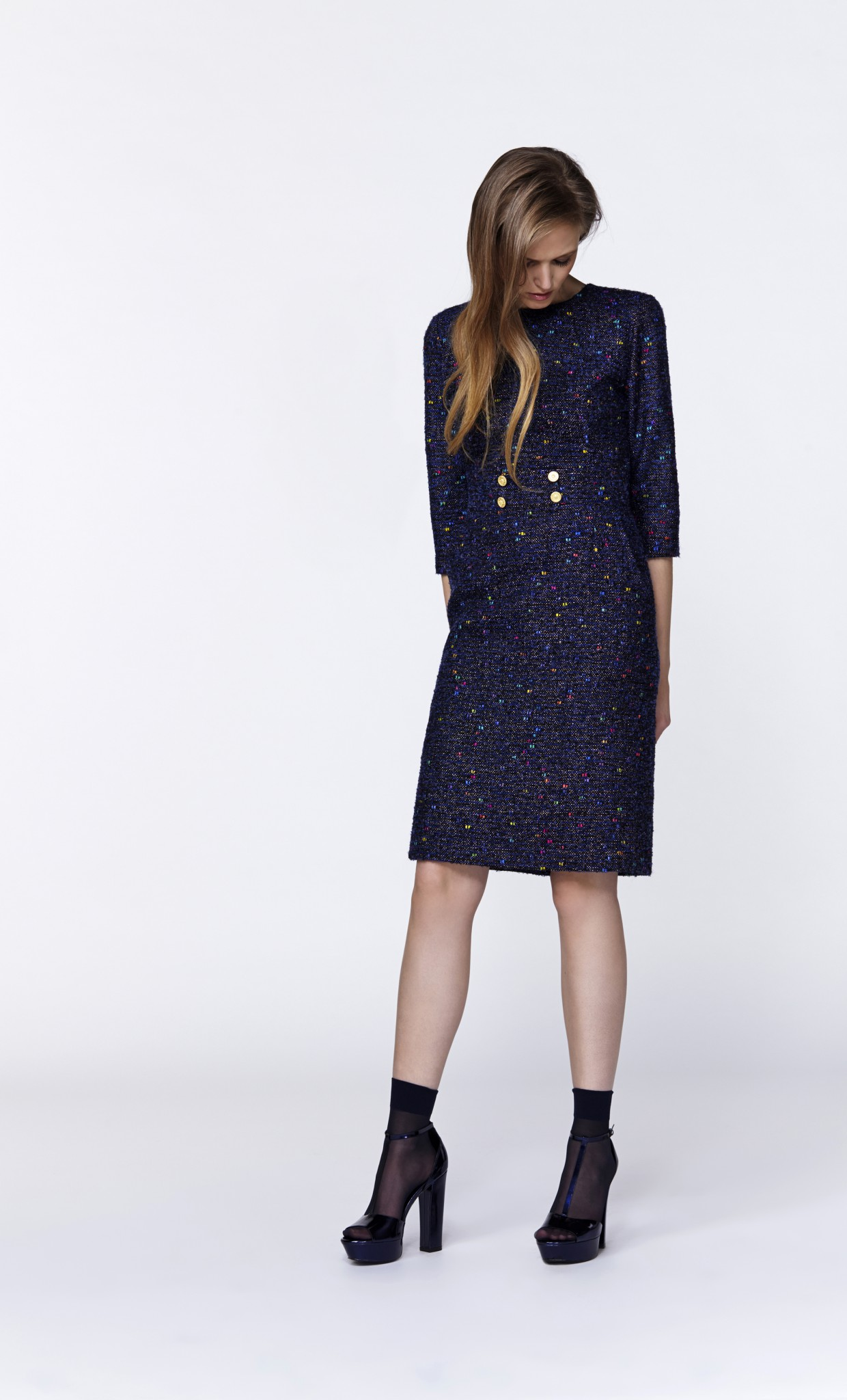 MUTLICOLORED DOTS TWEED DRESS FINISHED WITH GOLDEN BUTTONS