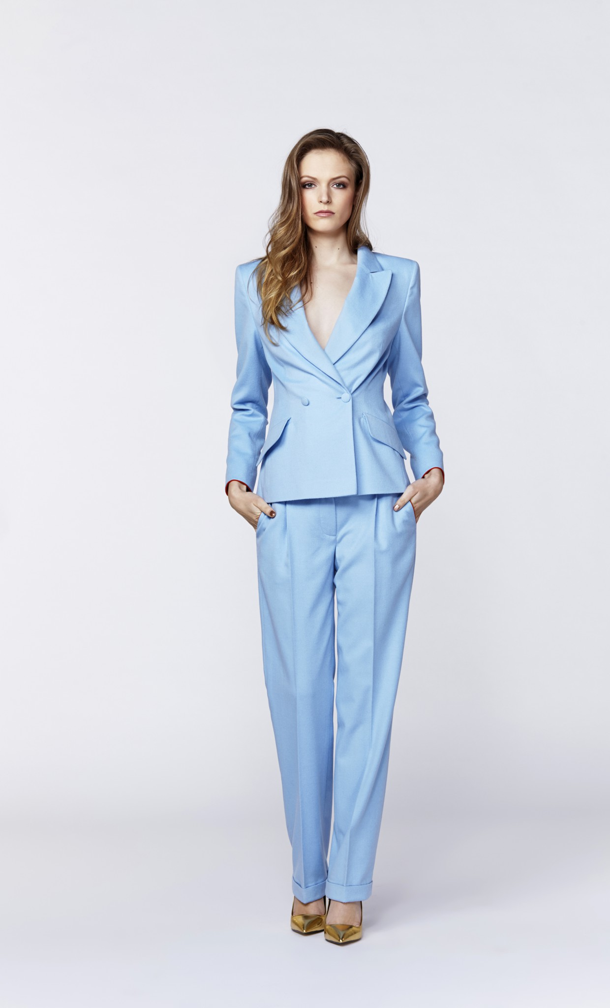 Plakinger: BLUE WOOL WIDE-LEG PANTS - Hiphunters Shop