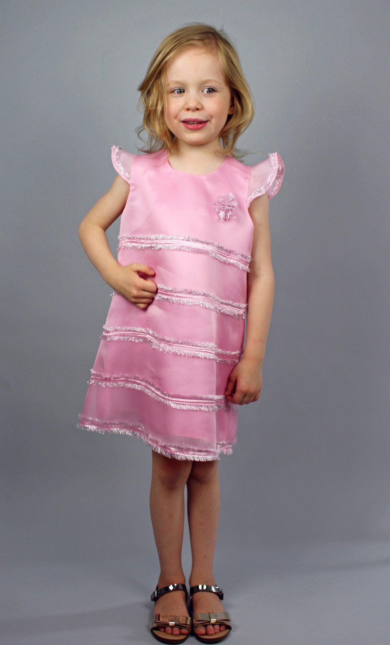 EMBELLISHED SILK ORGANZA GIRLS DRESS