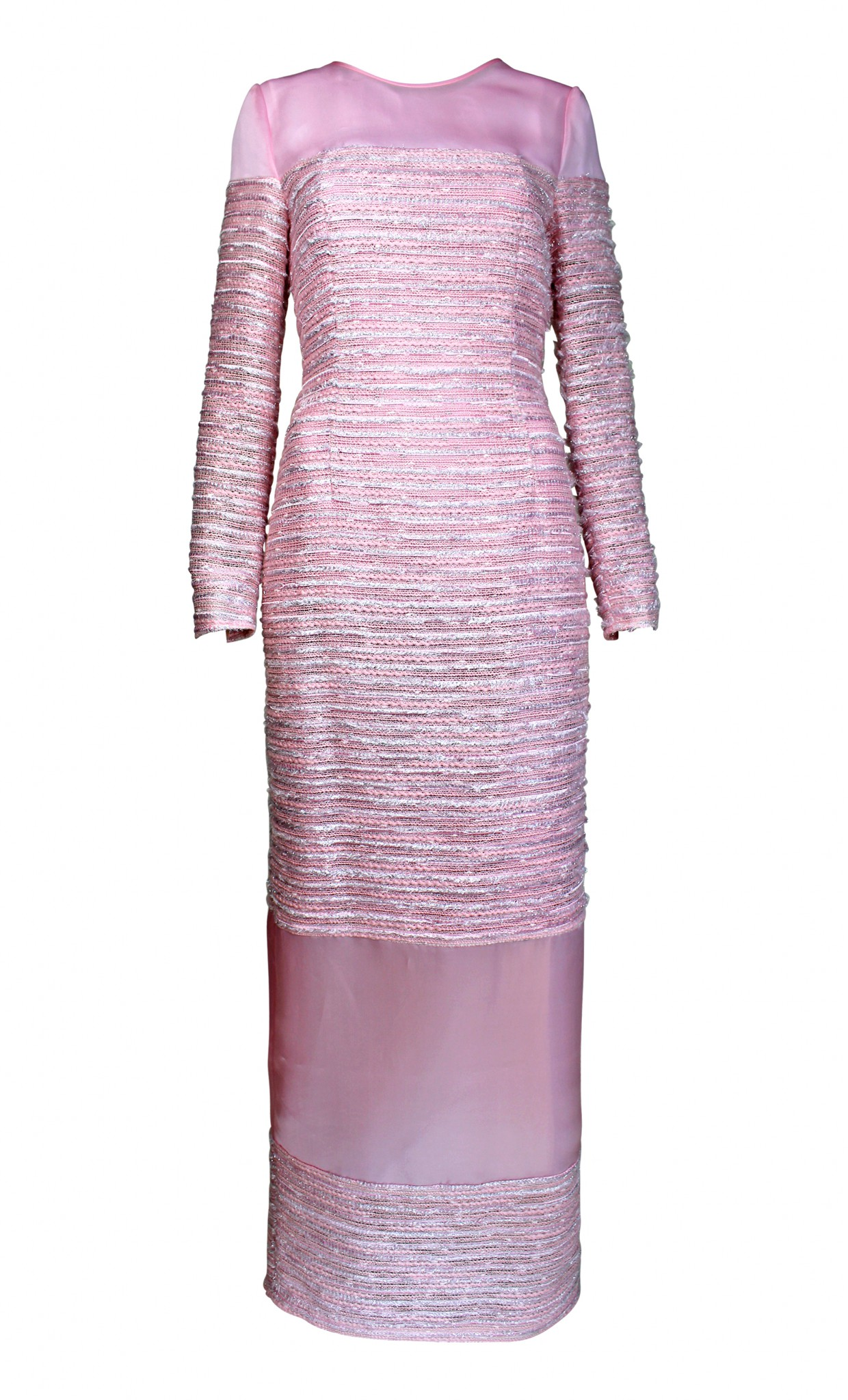 Plakinger: PANELED ORGANZA AND TWEED GOWN - Hiphunters Shop