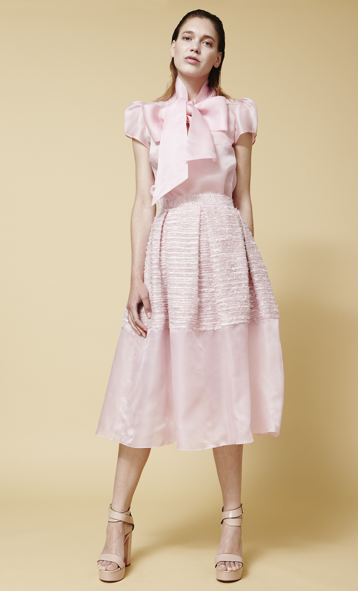 PANELED SILK ORGANZA AND TWEED SKIRT