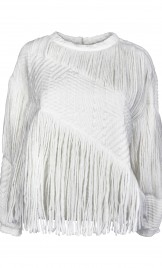 CHUNKY KNIT AND FRINGES TIERED SWEATER