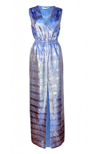BLUE METALLIC MAXI DRESS