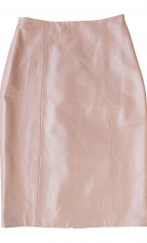 POWDER PINK LEATHER PENCIL SKIRT