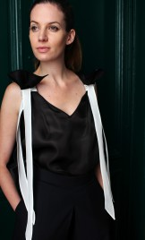 SILK ORGANZA TOP WITH WHITE TIES