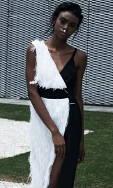 WHITE FRINGES AND BLACK STRETCHY CREPE DRESS