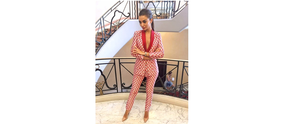ACTRESS AMY JACKSON IN PLAKINGER PANTSUIT IN CANNES