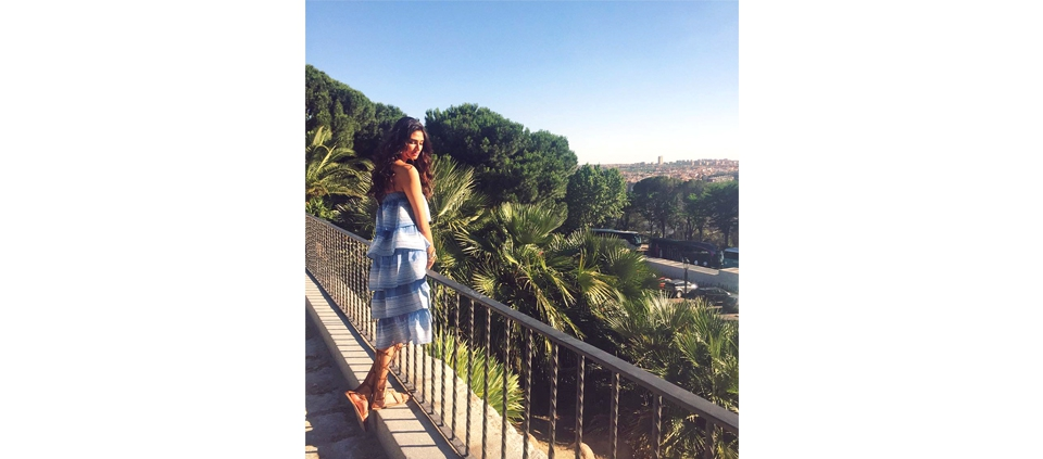 ATHIYA SHETTY IN PLAKINGER DRESS IN BARCELONA, SPAIN