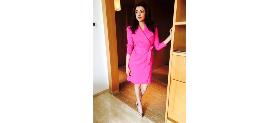 KAJAL AGGARWAL WEARING PLAKINGER DRESS IN CHENNAI