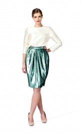 TURQUOISE PLEATED SEQUIN SKIRT