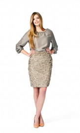 BEIGE LEATHER SEQUINS PENCIL SKIRT