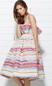 MULTICOLORED STRIPES JACQUARD STRAPLESS DRESS