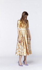 BELTED FLORAL SILK JACQUARD GOWN