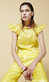 YELLOW RUFFLED SLEEVES SILK ORGANZA TOP
