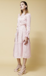 PANELED ORGANZA AND TWEED GOWN