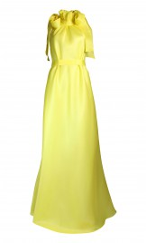 YELLOW RUFFLED SILK ORGANZA FULL-LENGTH DRESS WITH TIES