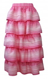 PINK COTTON TIERED DRESS / MAXI SKIRT