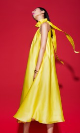 YELLOW RUFFLED SILK ORGANZA DRESS WITH TIES