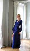ROYAL BLUE MAXI WRAP-STYLE TIE JACQUARD DRESS