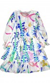 GIRLS PRINTED  SILK GEORGETTE DRESS