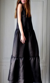 SILK ORGANZA MAXI DRESS WITH TASSELS
