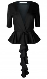 RUFFLED PEPLUM WOOL SUMMER JACKET