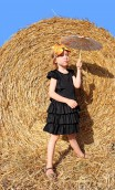 RUFFLED COTTON GIRLS DRESS WITH CROCHET TRIMMING