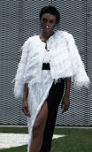 WHITE  JACKET CRAFTED FROM LIGHTWEIGHT FRINGED FABRIC MIX