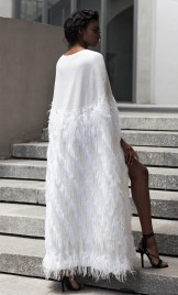 BRIDAL OR EVENING WEAR WHITE FRINGED CAPE
