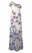 RUFFLED SILK CREPE DE CHINE MAXI DRESS WITH SIDE SLIT