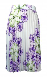 SILK CREPE DE CHINE PLISSÉ SKIRT WITH ANEMONE PRINT