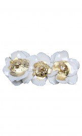 ANEMONE FLOWER SHAPED LIMOGES PORCELAIN BROOCH