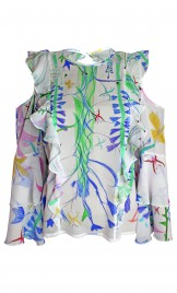 FANTASY PRINT SILK GEORGETTE CUTOUT BLOUSE