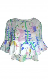 RUFFLED PRINTED SILK GEORGETTE BLOUSE