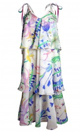 TIERED PRINTED SILK GEORGETTE DRESS