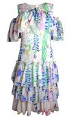 RUFFLED PRINTED SILK GEORGETTE DRESS