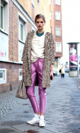 BEIGE LEATHER SEQUINS COAT