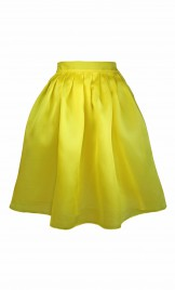 YELLOW SILK ORGANZA FULL SKIRT