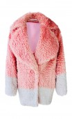 BELTED TWO-TONE MOHAIR COAT
