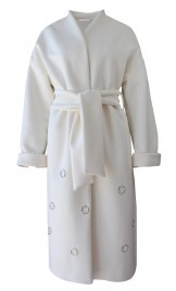OVERSIZED VIRGIN WOOL COAT WITH RING EMBELLISHMENTS