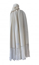 FRINGED IVORY COLORED CASHMERE SCARF