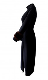 CUT OUT CREPE DRESS WITH VINTAGE MINK FUR CUFFS