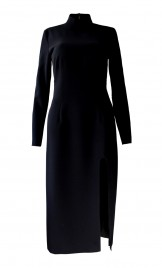 STRETCHY CUT OUT CREPE DRESS WITH HIGH NECK