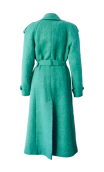 GREEN MOHAIR BLEND TRENCH COAT