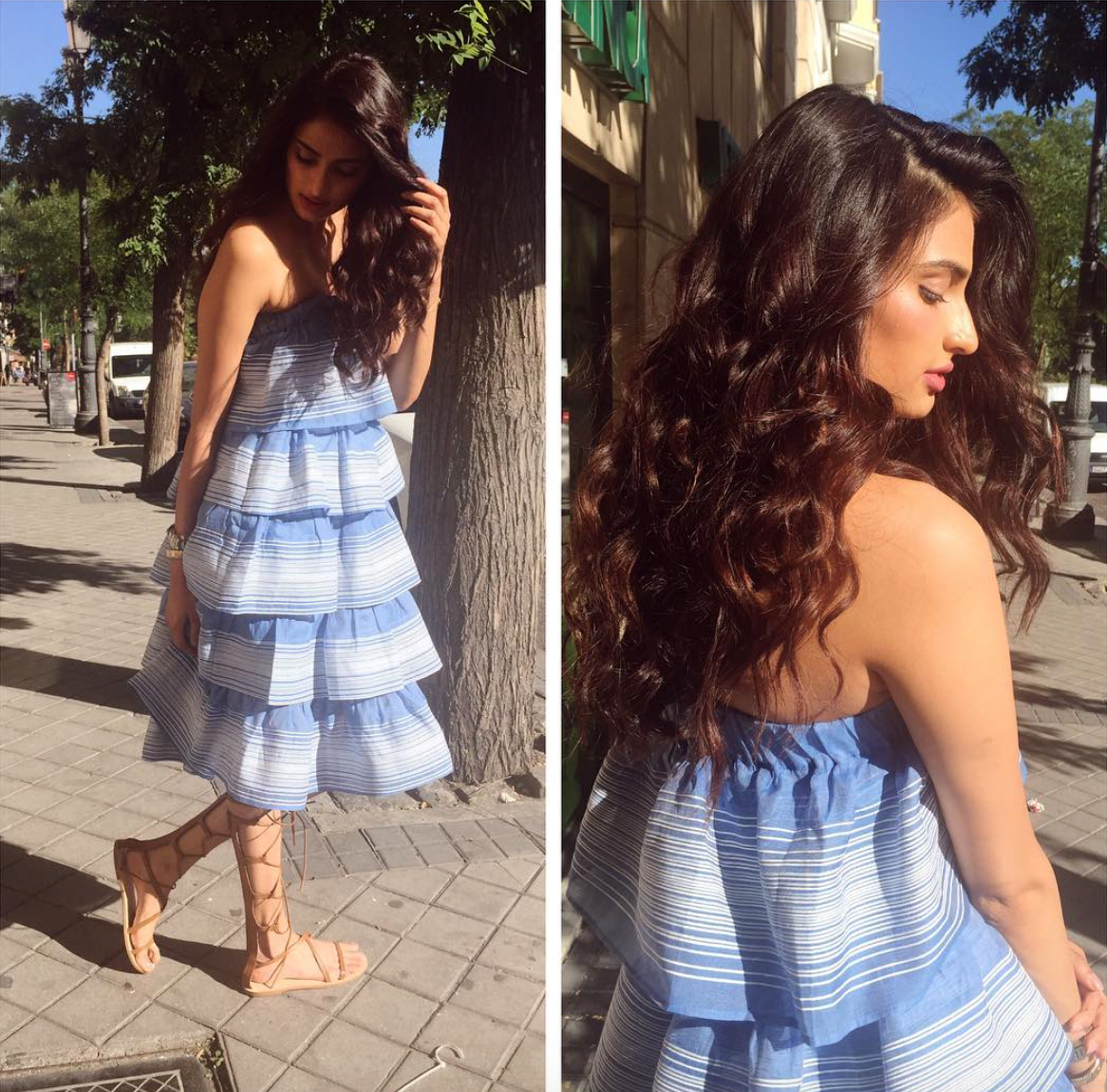 ATHIYA SHETTY IN PLAKINGER DRESS IN BARCELONA SPAIN