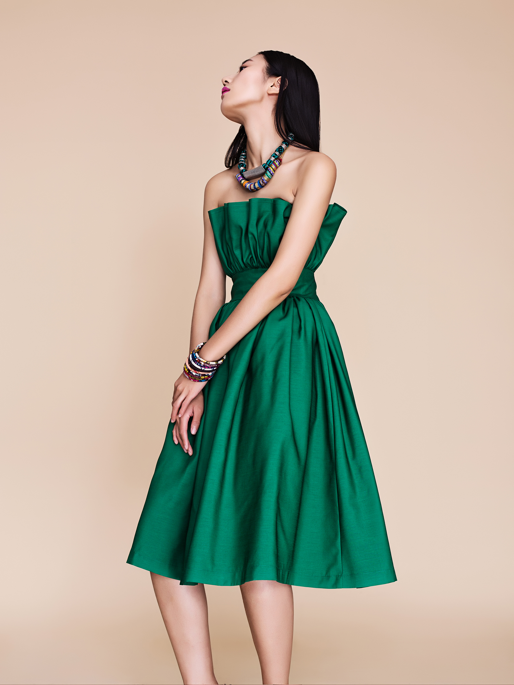PLAKINGER SS16 GREEN RUFFLED DRESS