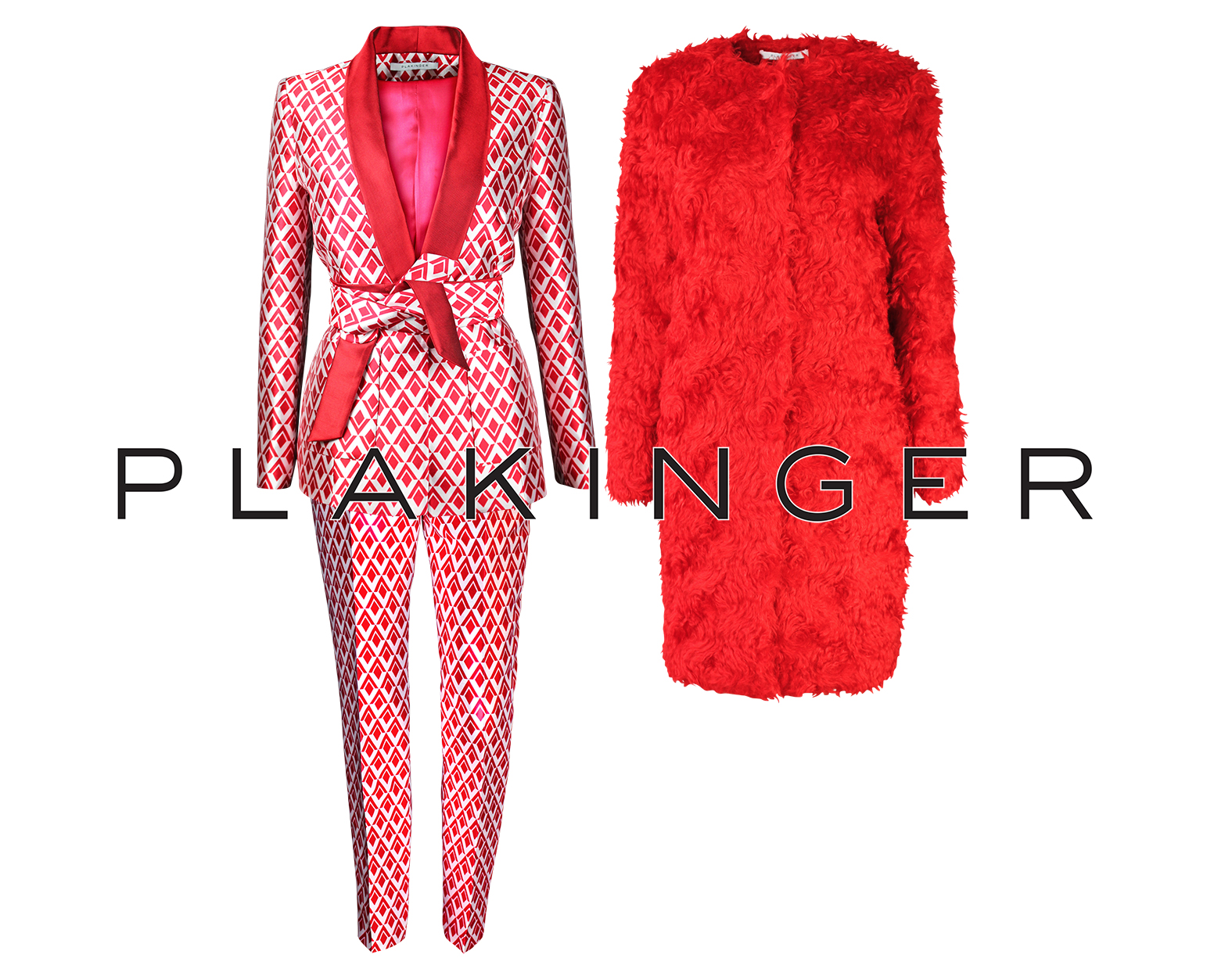 PLAKINGER GRAPHIC PRINT PANTSUIT STYLED WITH RED MOHAIR COAT